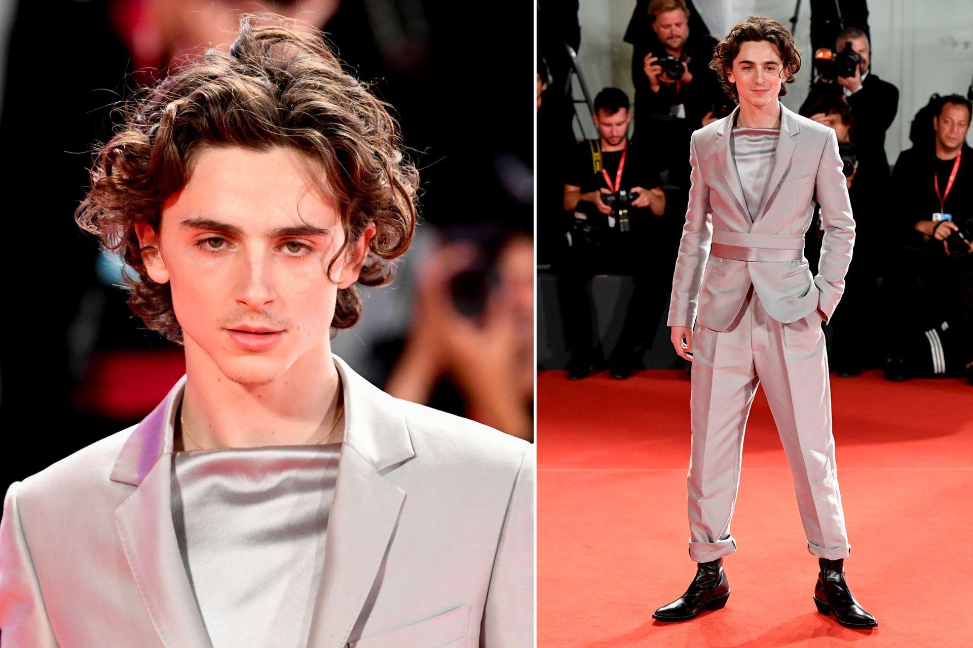 Timothée Chalamet sorprendió en Venecia con un estilo desafiante y un traje gris perla de Haider Ackermann, para la presentación de la película The King