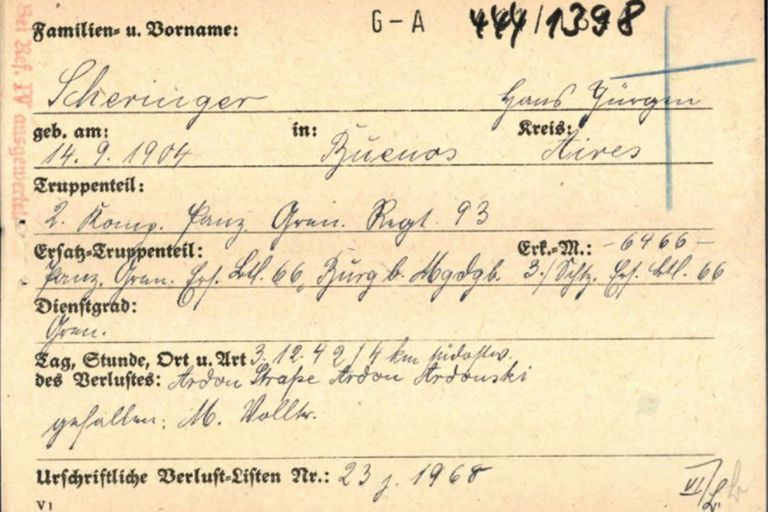 El destino hará que Hans Scheringer, su hermano mayor, también argentino, muera en el frente soviético como un suboficial anónimo, peleando por el bando alemán como miembro del Batallón 93 Panzergrenadier