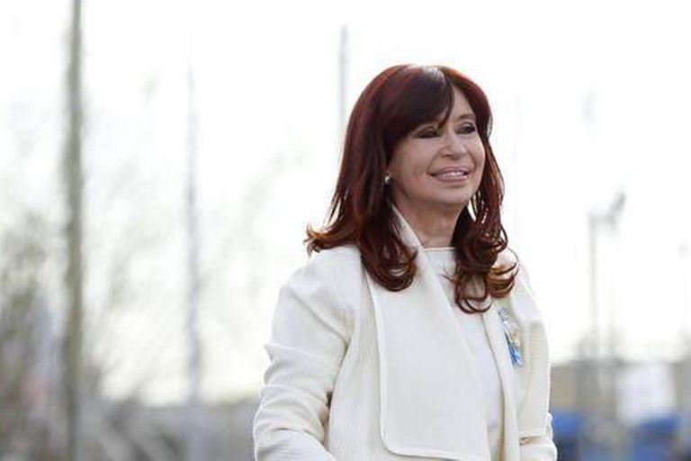 La vicepresidenta Cristina Kirchner durante el acto en Isla Maciel