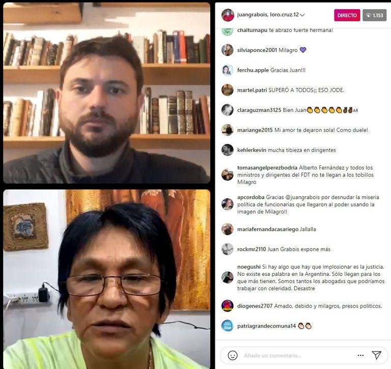 Milagro Sala, en un vivo con Juan Grabois, atacó al Gobierno