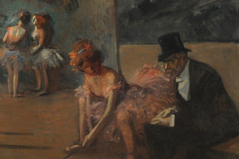 Detalle de Bailarina y admirador tras la escena, de Jean Louis Forain, obra que perteneció a la colección de Antonio Santamarina