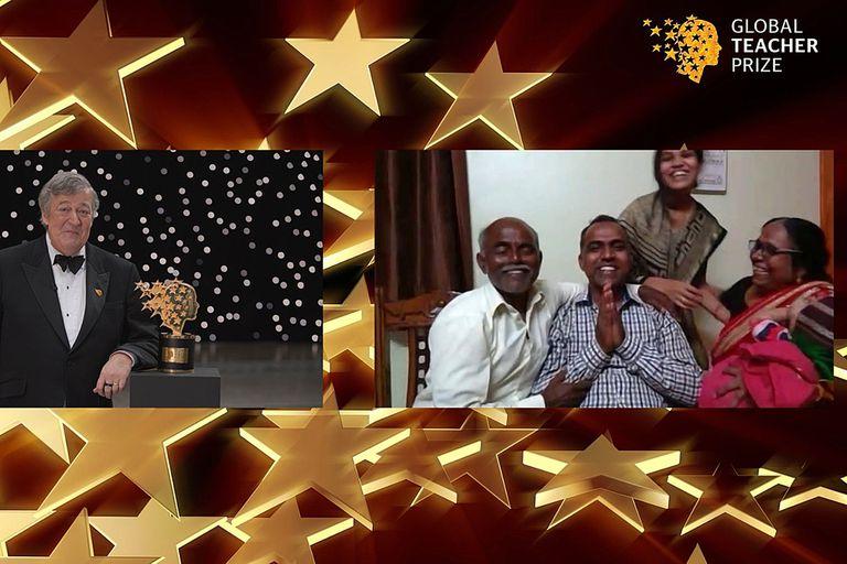 El actor Stephen Fry, en la entrega virtual del premio al maestro indio Ranjitsinh Disale