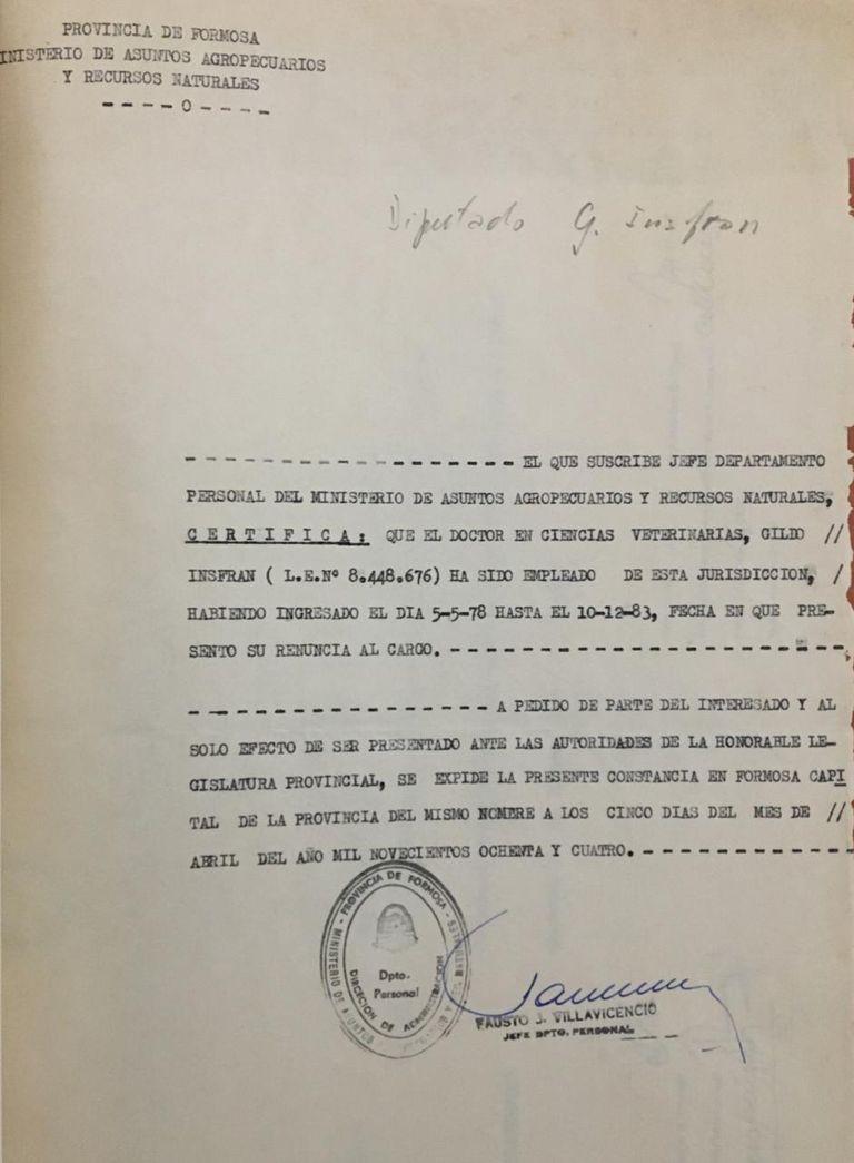 Los documentos que probaría que Gildo Insfrán renunció el 10 de diciembre de 1983