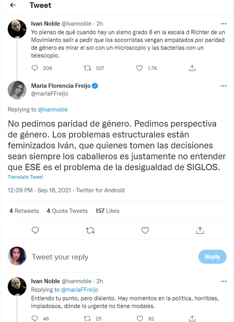 La respuesta de María Florencia Freijo