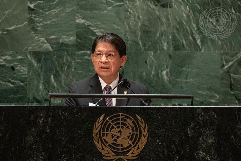 28-09-2021 El canciller de Nicaragua, Denis Moncada, durante su intervención en la Asamblea General de Naciones Unidas POLITICA FOTO ONU / CIA PAK