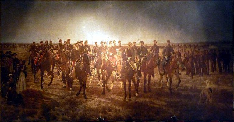 """El cuadro popularmente conocido como """"La Guerra del Desierto"""" se expone en el Museo Histórico Nacional. Es obra de Blanes y figura en el dorso de los billetes de cien pesos."""