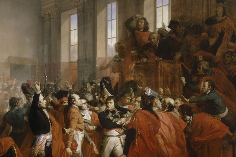 Bonaparte abucheado por el Consejo de los Quinientos, durante el golpe de Estado del 18 de brumario