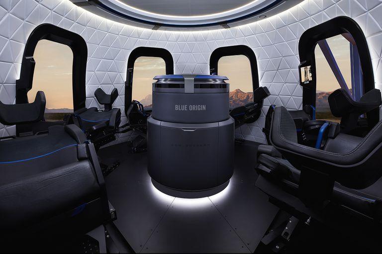 El interior de la cápsula de la tripulación Blue Origin