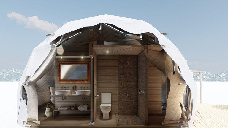 Los domos por dentro con espacios pequeños y una decoración muy cuidada