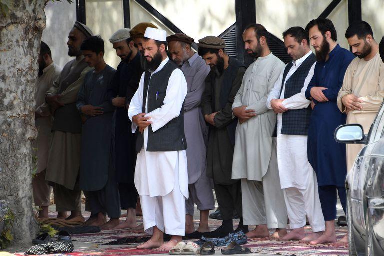 Un grupo de afganos en el momento de la plegaria