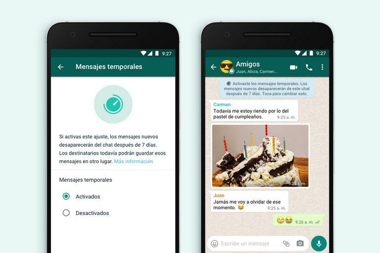Así se activa la nueva función que permite crear mensajes que se autoeliminan después de 7 días en un chat grupal o individual en Whatsapp