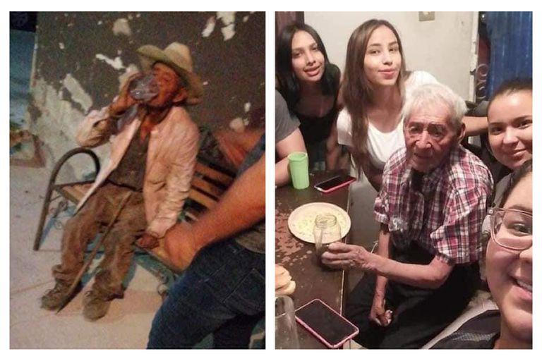El hombre de 108 años fue rescatado por una vecina, quien le brindó comida y un nuevo hogar