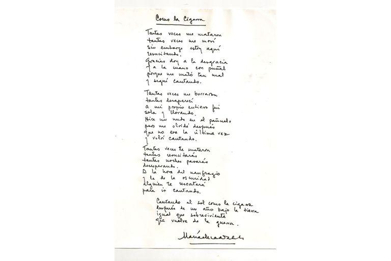 """Manuscrito original de """" La Cigarra """""""
