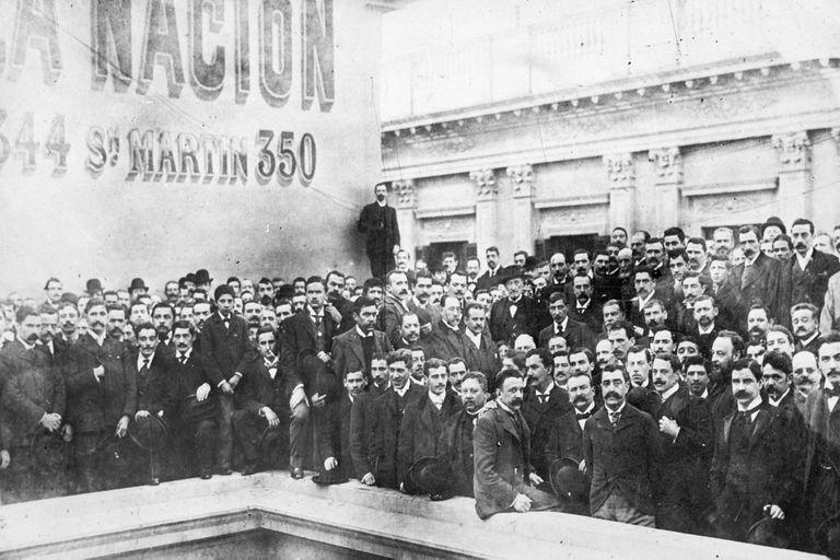 Bartolomé Mitre en la terraza del diario LA NACION