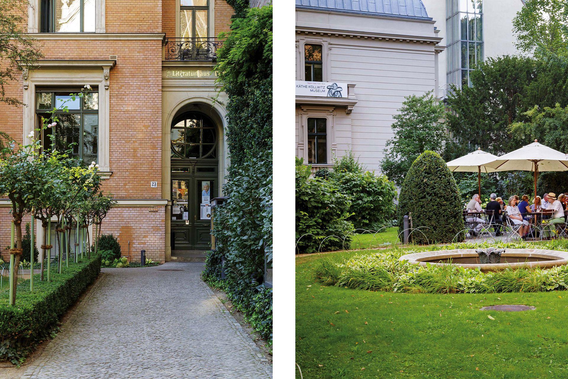 Dos edificios deliciosos a pocas cuadras de lo de Harald: el museo Käthe Kollwitz, que se puede ver desde los jardines del café de la Literaturhaus.