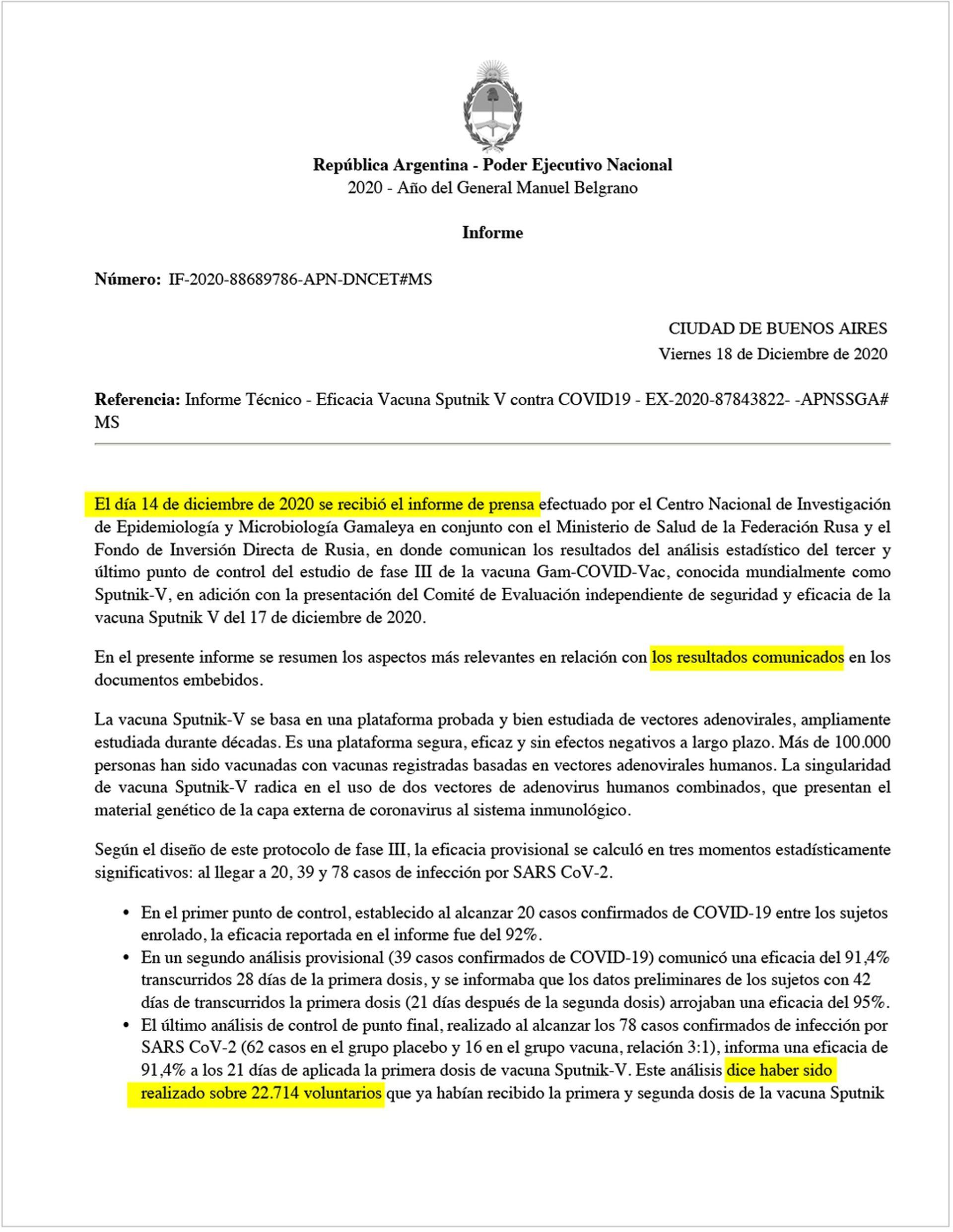 El 18 de diciembre pasado hacían declaraciones en Rusia los integrantes de la comitiva oficial. Casi al mismo tiempo, el director nacional de Control de Enfermedades Transmisibles, Juan Manuel Castelli, firmaba un informe técnico sobre la eficacia de la vacuna.