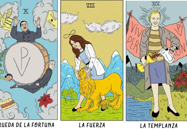 Crean un insólito tarot peronista con figuras de Cristina, Néstor y Evita