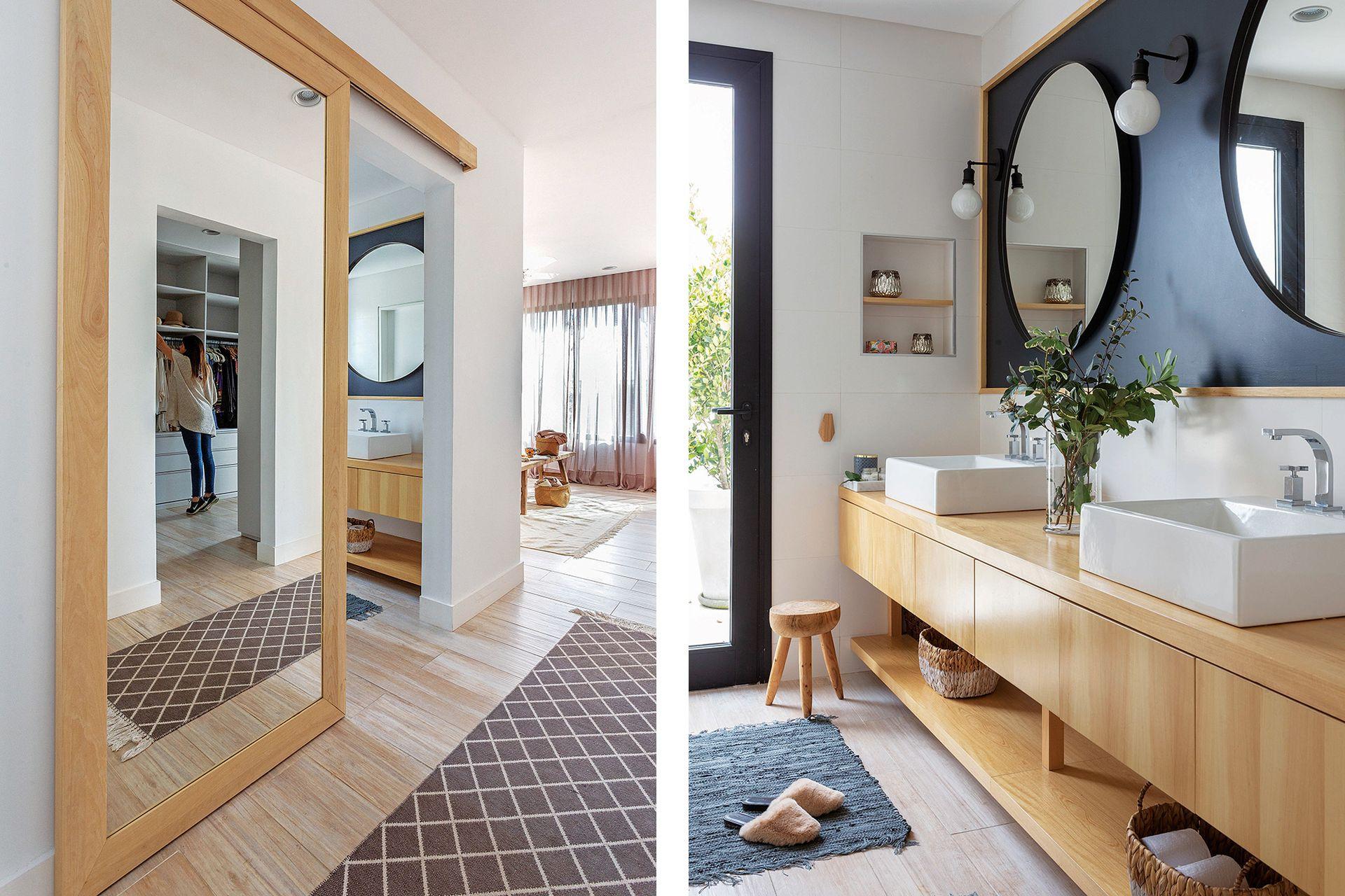 Con delicado diseño, la puerta corrediza del baño le da un gran espejo enmarcado al vestidor sin quitarle espacio de guardado.