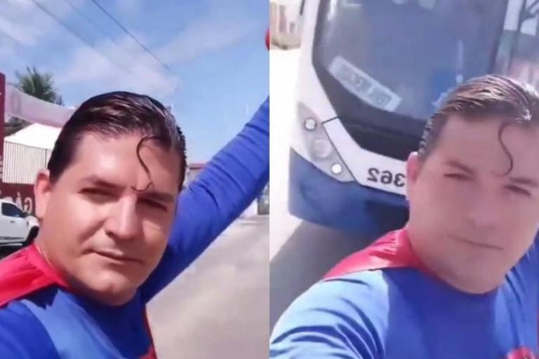 """El Superman brasileño fue atropellado al parar un colectivo con sus """"poderes"""""""