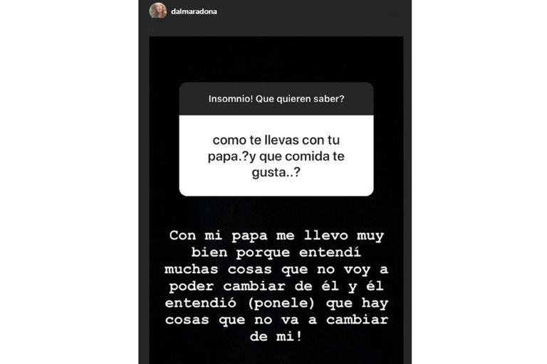 Las preguntas que contestó Dalma desde sus historias de Instagram