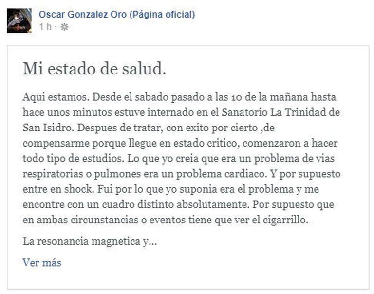 La carta de Oscar González Oro publicada en Facebook