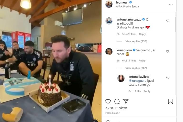 Antonela comentó la publicación de su marido por el festejo que le hicieron sus compañeros de la selección argentina
