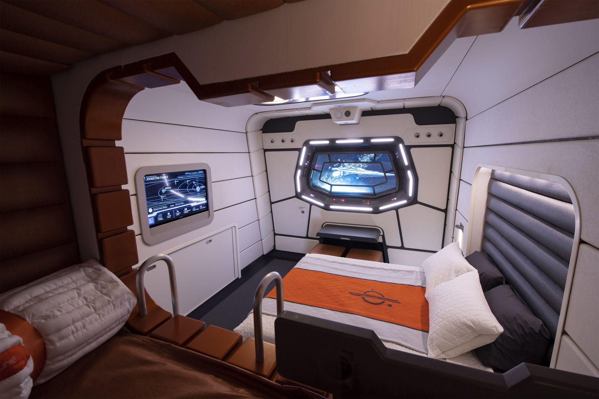 Así será una de las cabinas de Star Wars: Galactic Starcruiser, donde los visitantes se embarcarán para una aventura de dos días.