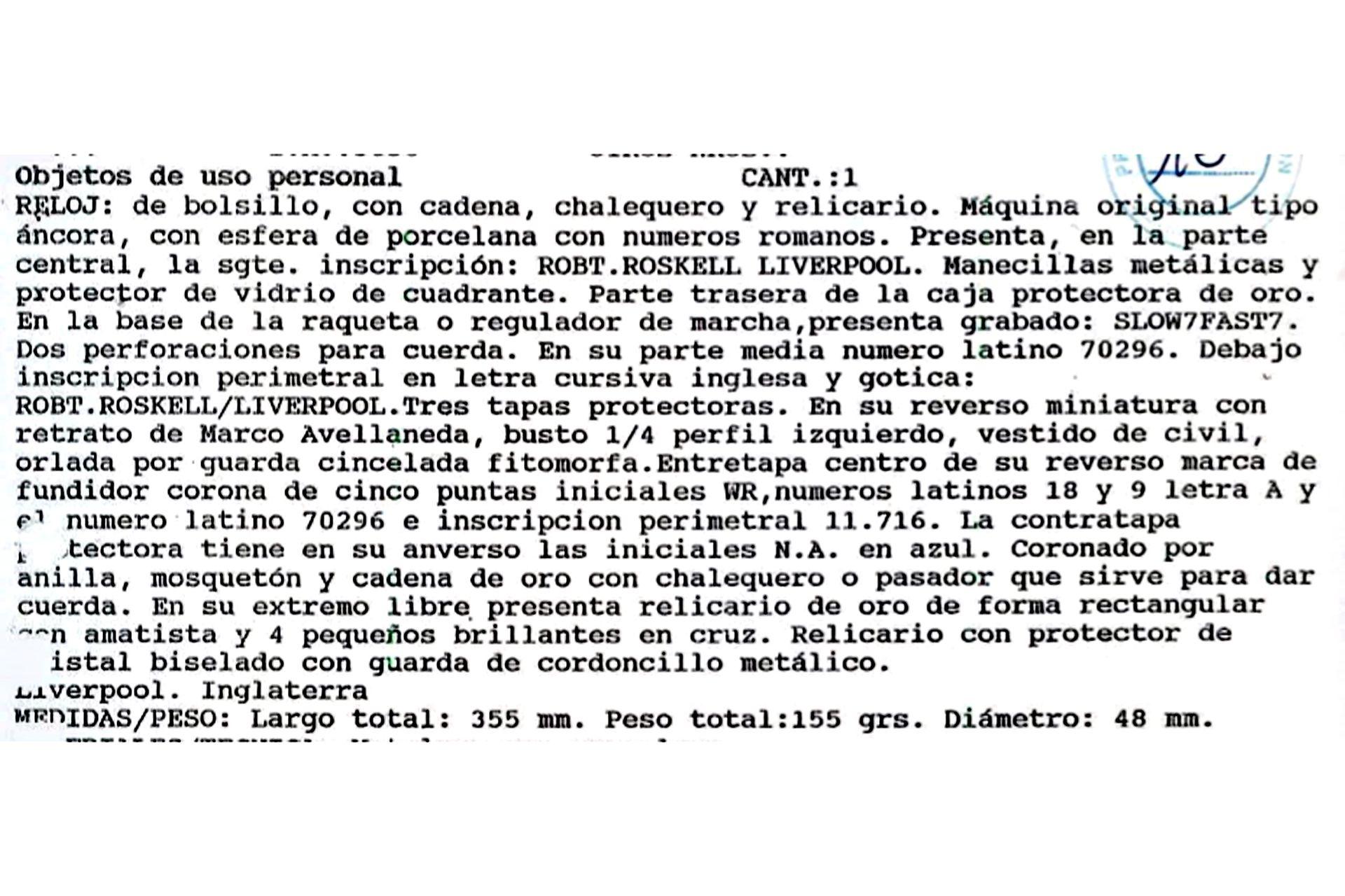 Así figura en los registros oficiales el ingreso del reloj de Nicolás Avellaneda, que fue robado en agosto de 2007, a los bienes públicos.