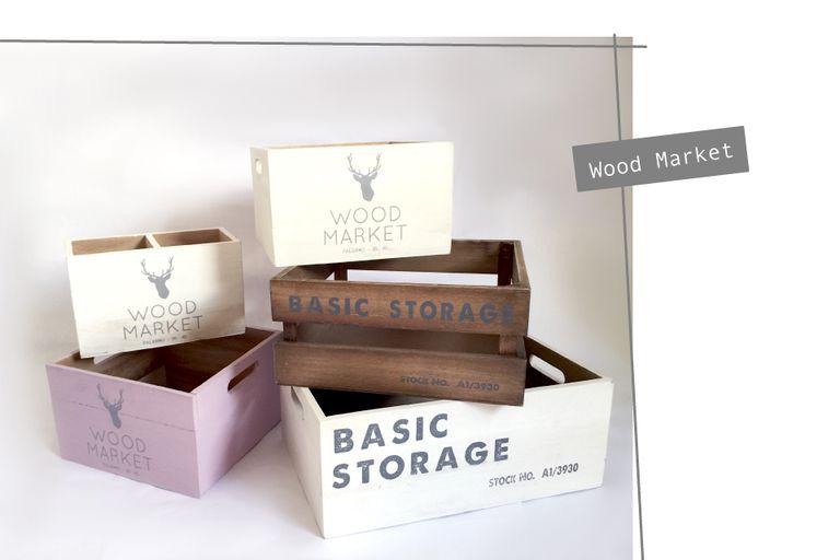 Contenedores de madera de Wood Market de distintos tamaños, van desde $256 hasta $432