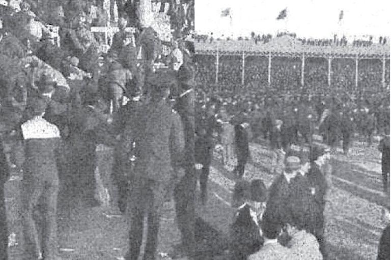 Izquierda: los fanáticos de cuelan para ver Argentina-Uruguay. Derecha: la invasión del campo de juego