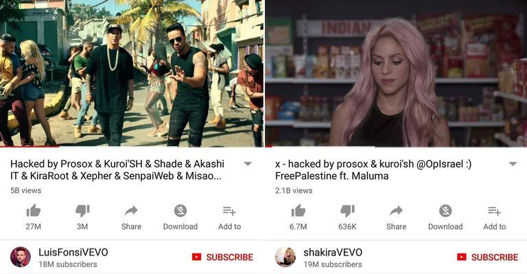 Así se veía Despacito y una canción de Shakira luego del ataque