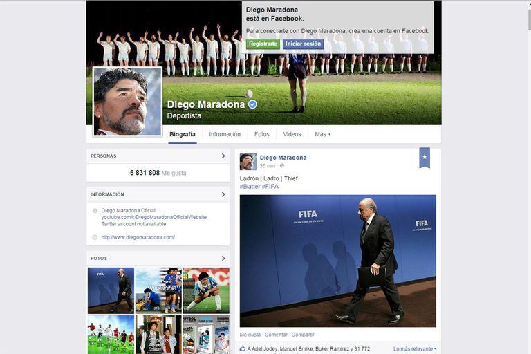 Diego Maradona y su denuncia ante el escándalo en FIFA también en FB