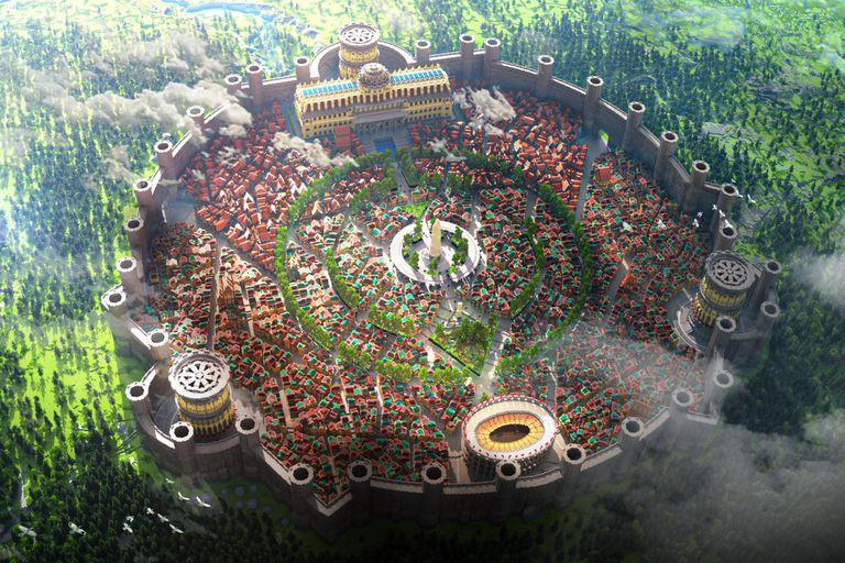 Una vista aérea de Lithonia, la enorme ciudad virtual desarrollada por el estudio Varuna en Minecraft
