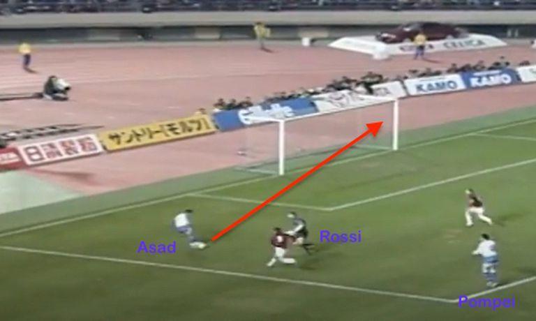 El Turco Asad anticipa al arquero y define de media vuelta, sin permitirle reacción a la defensa de Milan