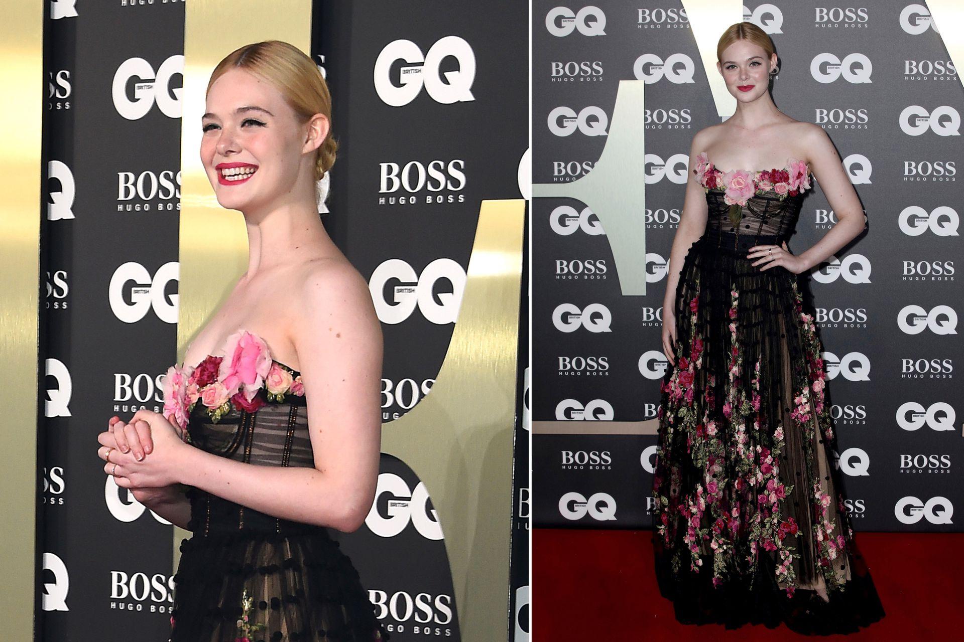 Para la gala de los GQ Men Of The Year Awards 2019, Elle Fanning eligió un romántico diseño en negro con detalles florales, de Dolce and Gabbana