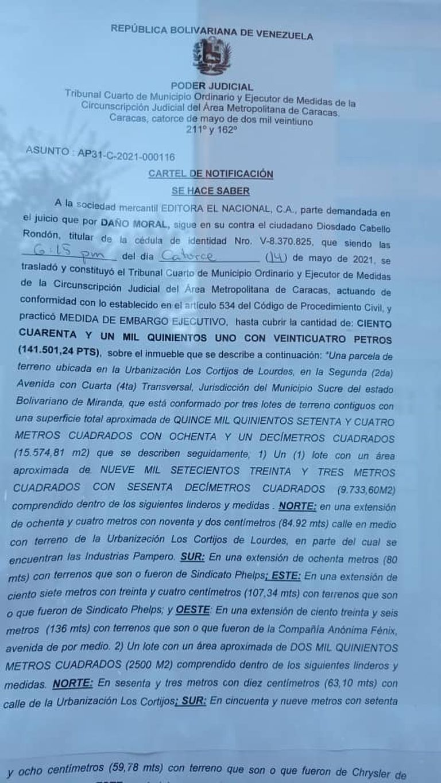El cartel de notificación por el embargo a El Nacional