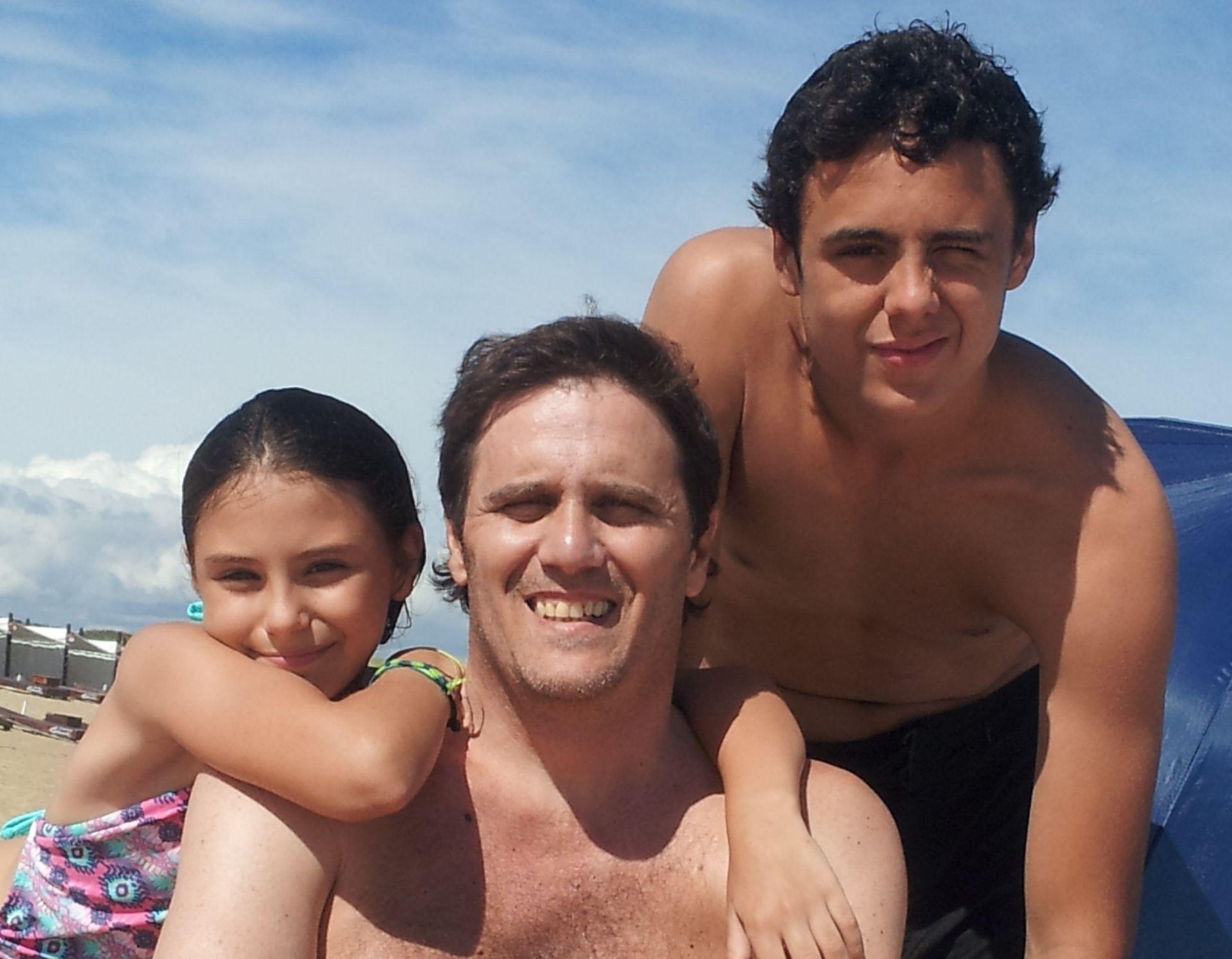 Verano del 2017 con sus hijos Felipe y Guada en Punta del Este