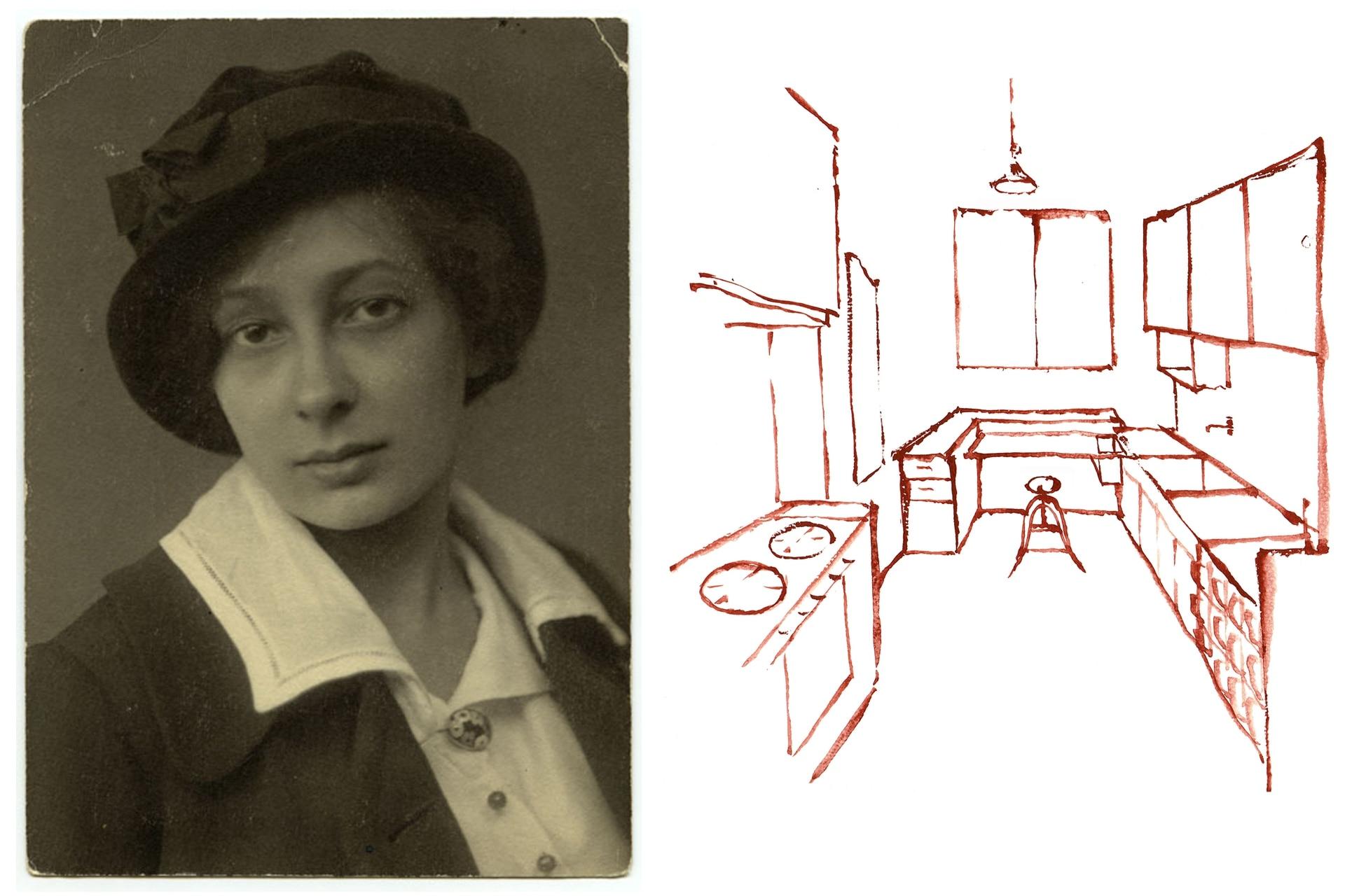 Retrato de Margarete Schütte-Lihotzky en su juventud, cuando ya había logrado atravesar el techo de cristal (templado) que significaba no solo haberse recibido de arquitecta sino trabajar como tal en grandes proyectos sociales. Al lado, otro croquis realizado por Musas de Vanguardia en base al proyecto.