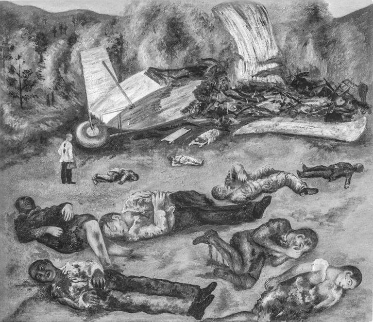 """""""El accidente de avión"""" es otro de los cuadros perdidos de Frida Khalo, elaborado durante un período de gran agitación personal que queda reflejado en la obra"""