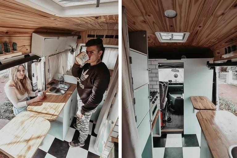 Paula y Blas, en Lobos, transformaron su minivan Mercedes Benz modelo 1996 en una casa para emprender un largo viaje