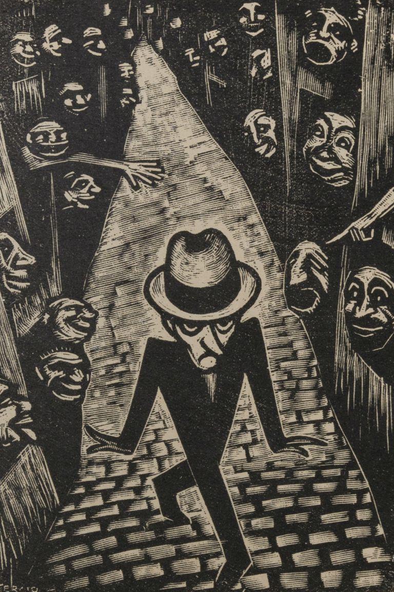 """""""El sombrero"""", grabado de Sergio Sergi, de la colección del Museo Nacional del Grabado"""