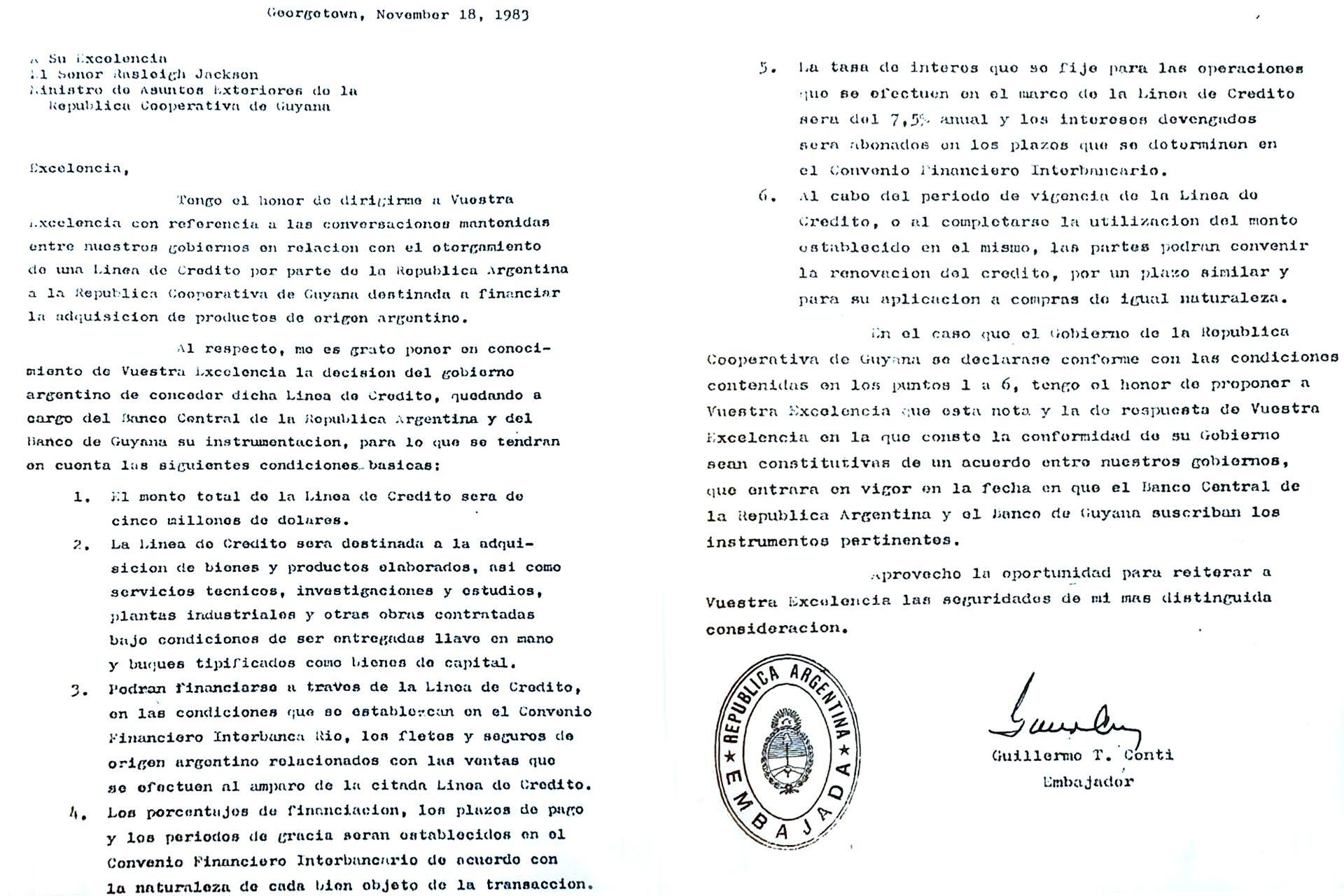 Facsímil de la nota que el embajador Guillermo Conti le envió el 18 de noviembre de 1983 a Rasleigh Jackson, ministro de Relaciones Exteriores de Guyana. Está fechada en Georgetown y ocurrió días antes de la llegada de Alfonsín.