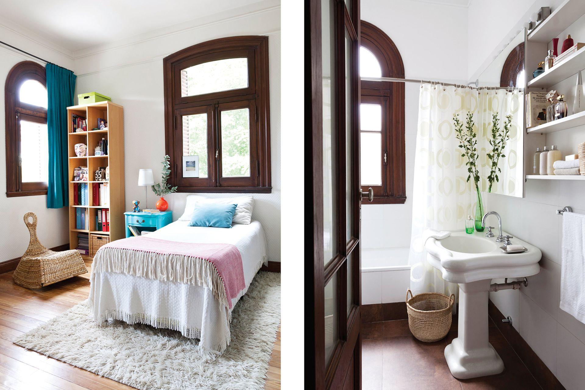 En el cuarto de su hija, los colores plenos y vibrantes elegidos para renovar muebles antiguos aligeran lo imponente de las aberturas de época.