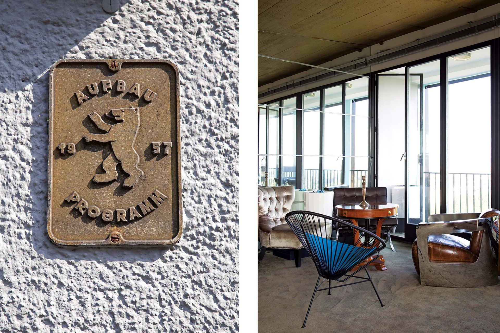 Harald quitó divisiones y cortinas para disfrutar la vista de su barrio de infancia, obra maestra de la arquitectura modernista que hoy está protegida en su totalidad como monumento histórico.