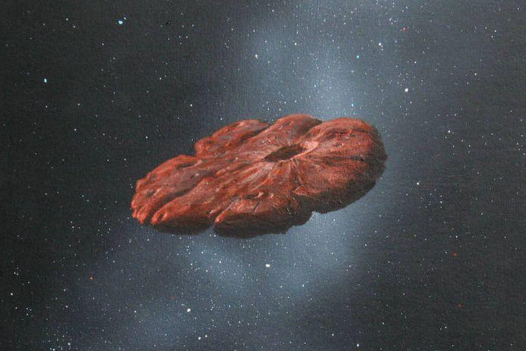 Esta pintura de William Hartmann, científico emérito del Instituto de Ciencias Planetarias de Tucson, muestra a Oumuamua como un disco en forma de panqueque