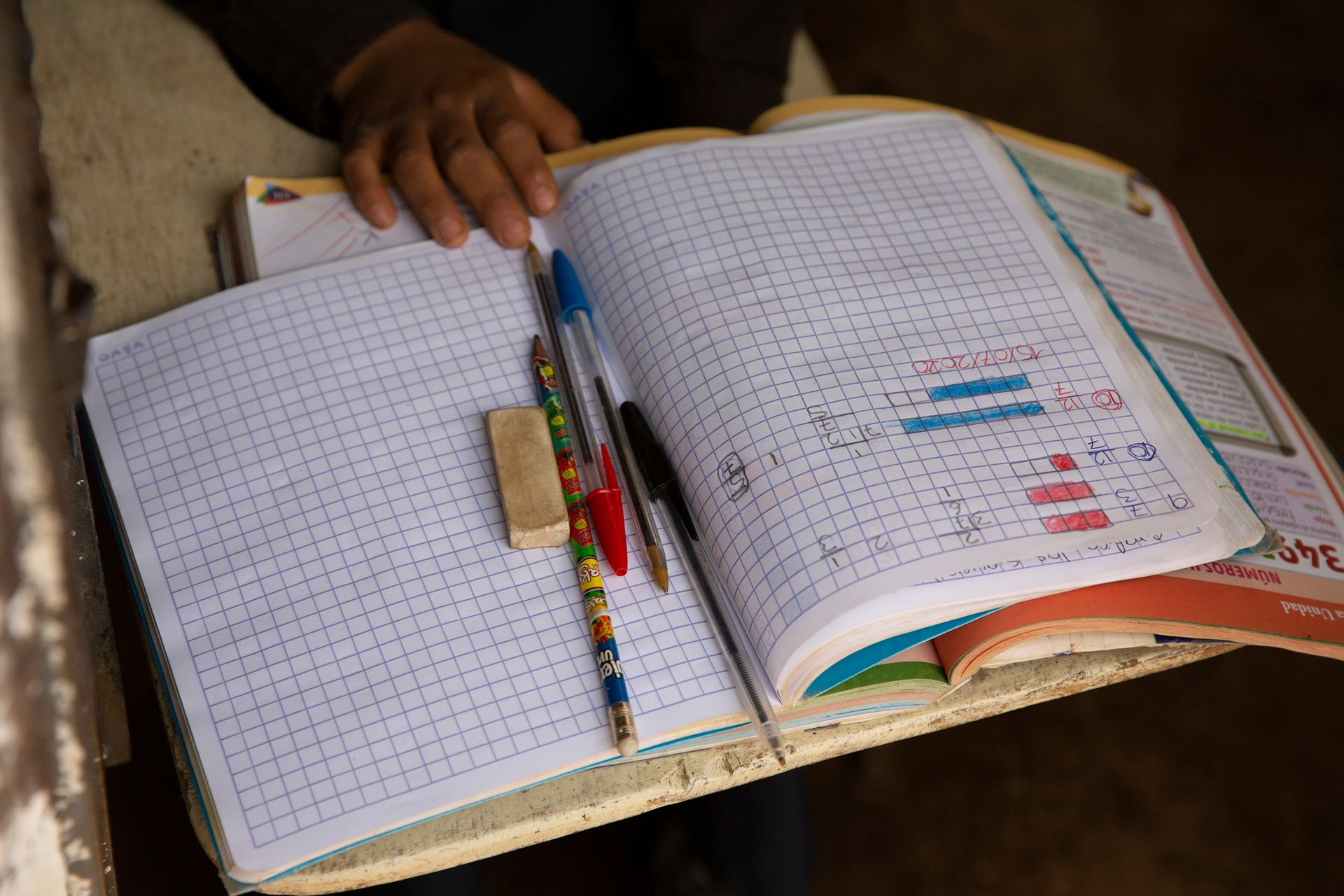 Los alumnos esperan al maestro con todo sus elementos, ansiosos por tomar la clases, que es también una distracción en medio del encierro