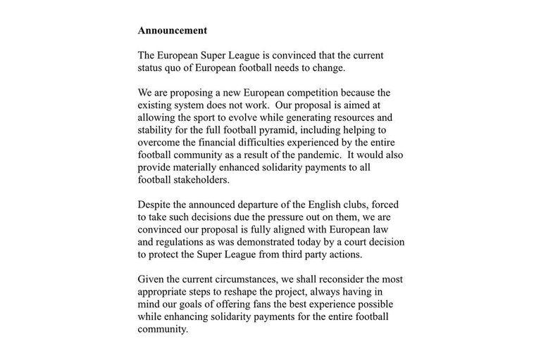 El comunicado de la Superliga Europea, en el que no se da por vencida y anticipa que reintentará.