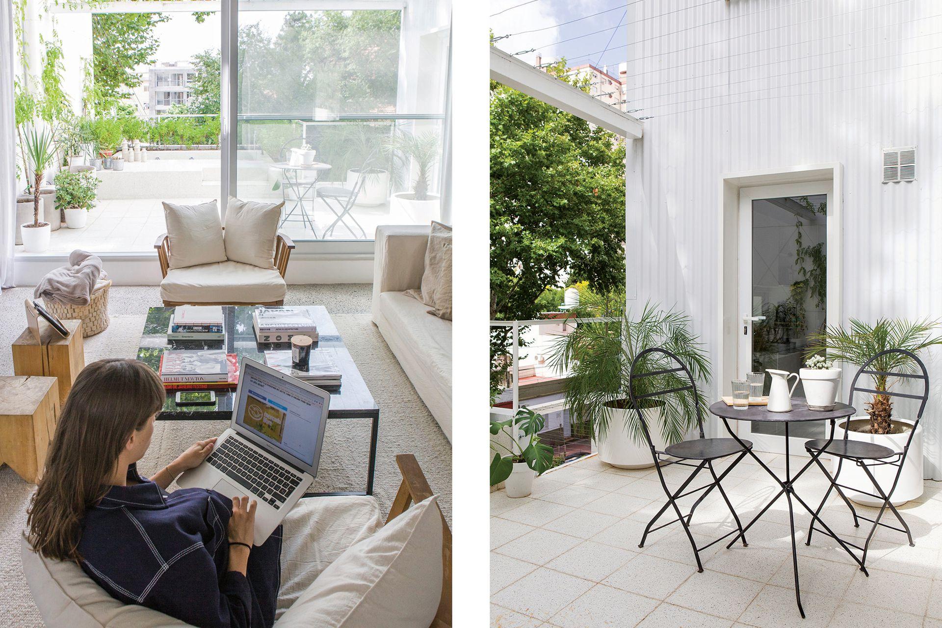 El juego de mesa y sillas de la terraza es de Carpintería El Yeite.