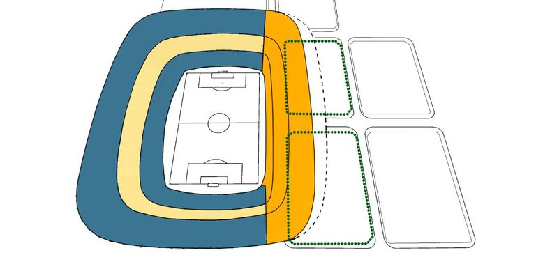 El sombreado anaranjado simula la superficie que precisa el proyecto Esloveno; la línea punteada, la del 360. La diferencia es ínfima: apenas 3000 lugares.