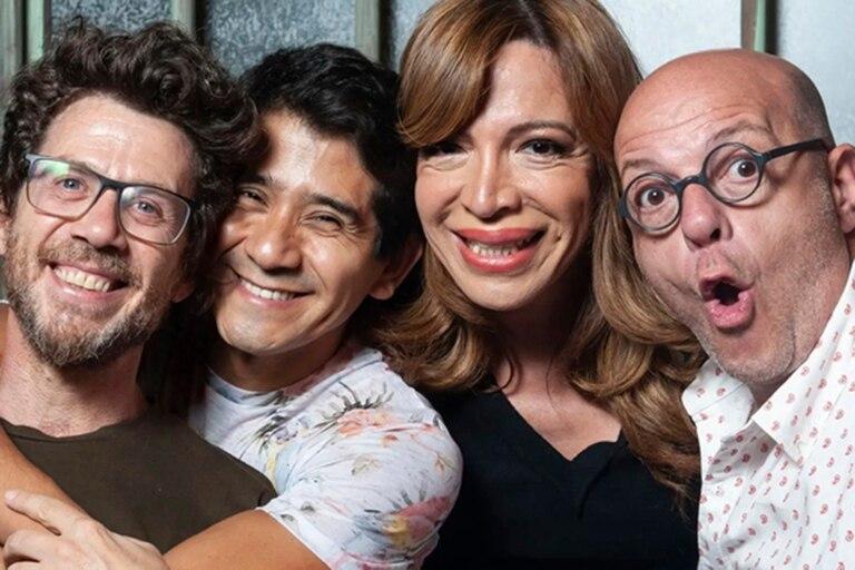 Peto Menahem, Oski Guzmán, Lizi Tagliani y Campi, en Los bonobos